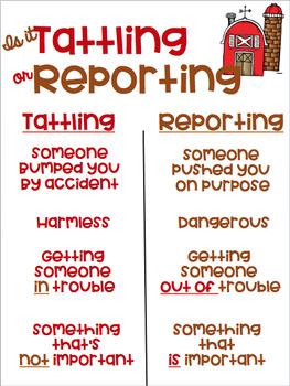 Is it Tattling or Reporting Farm Theme Freebie