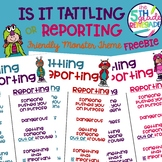 Is it Tattling or Reporting Friendly Monster Themed Freebie