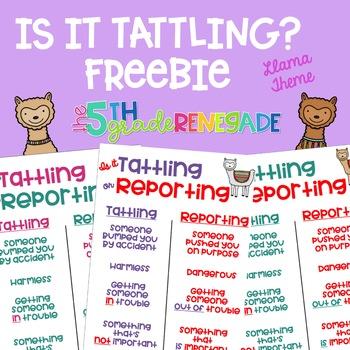 Is it Tattling or Reporting Llama AlpacaThemed Freebie