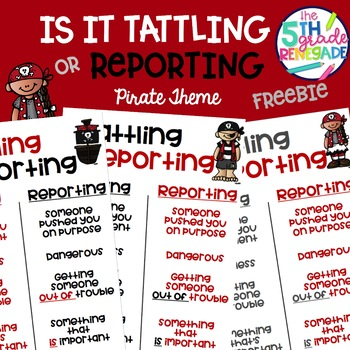 Is it Tattling or Reporting Pirate Themed Freebie