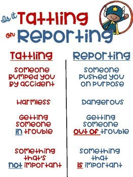 Is it Tattling or Reporting Superhero Kids Themed Freebie