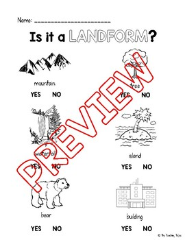 Is it a Landform? Worksheet