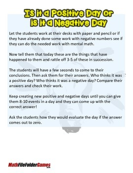 Is it a Positive Day or is it a Negative Day? {Integer Activity}