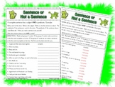 Is it a Sentence, or not a Sentence?  worksheet activty page printable