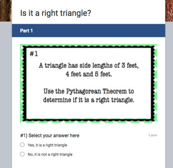 Is it a right triangle?  (Google Form & Video Lesson!)