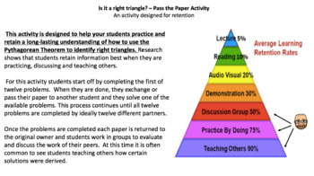 Is it a right triangle? – Pass the Paper (Cooperative Learning Activity)