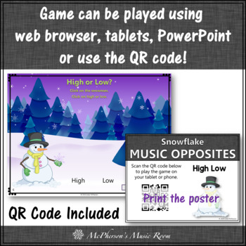 Music Opposite High or Low Interactive Music Game (snowflake)