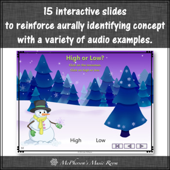 Winter Music Game: Music Opposite High Low Interactive Music Game {snowflake}