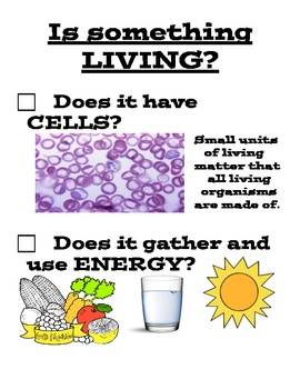 Is something living? Characteristics of living organisms sign
