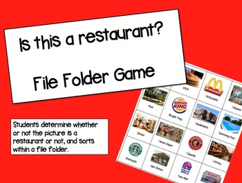 Is this a restaurant? File Folder Activity