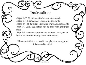 Is/Are Grammar Cards and Game Board