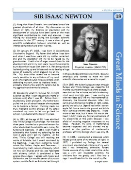 Isaac Newton - Great Minds in Science Article #18 - Science Literacy Sub Plan