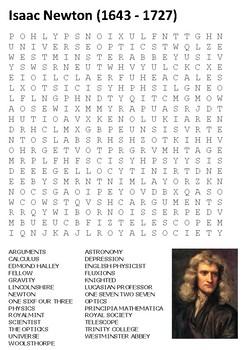 Isaac Newton Word Search