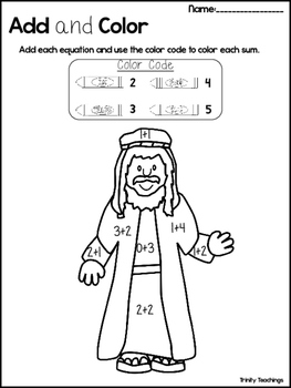 Isaac and Rebekah Add and Color Worksheets  Preschool-Kindergarten Bible  Study