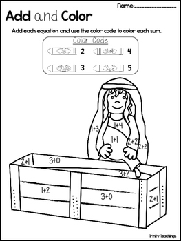 Isaac and Rebekah Add and Color Worksheets. Preschool-Kindergarten Bible Study