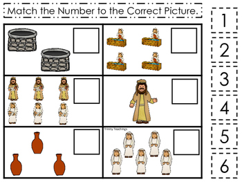 Isaac and Rebekah Match the Number printable game. Preschool Bible Study Curricu