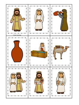 Isaac and Rebekah Memory Match printable game. Preschool Bible Study Curriculum
