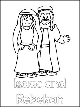 Isaac and Rebekah Printable Color Sheets. Preschool Bible Study Curriculum.