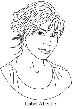 Isabel Allende Realistic Clip Art, Coloring Page, and Poster