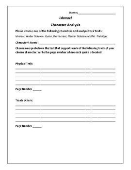 Ishmael - Character Analysis Activity - Daniel Quinn