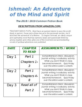 Ishmael Unit plan & Reading Schedule