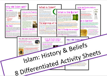 Islam: History and Beliefs Worksheets - Differentiated Activity Sheets