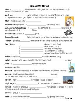 Islam Key Terms - Vocabulary Worksheet