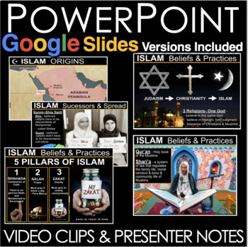 Islam PowerPoint (World Religions) with video clips and presenter notes