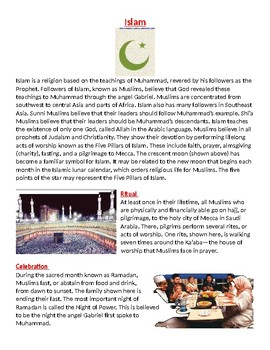 Islam: Rituals, worship practices, and leadership worksheet