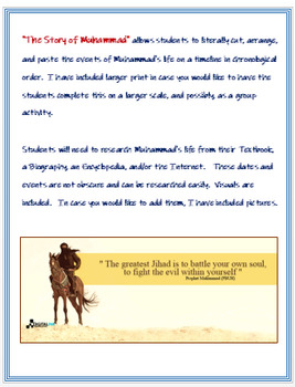 """The Story of Muhammad"" - Kinesthetic Timeline Assessment"