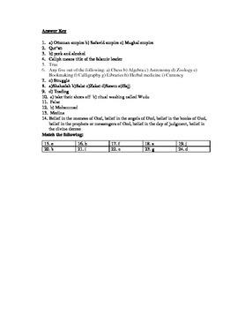 Islam Unit Test 6th Grade