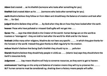Islam and Stewardship - Environment Crossword