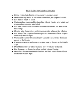 Islam and The Islamic Empire: A Study Guide and Final Test