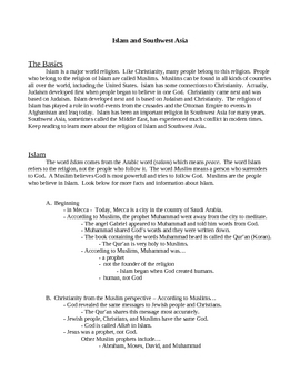 Islam handout, questions, and test
