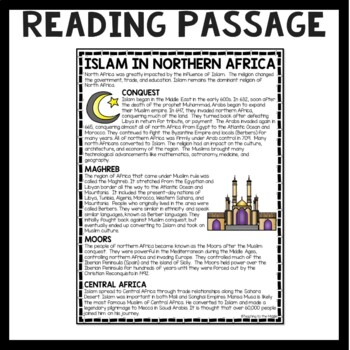 Islam in North Africa Reading Comprehension; Ancient Africa; Muslim Conquest
