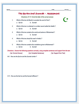 """""""The Qur'an and Sunnah"""" + Assessment"""