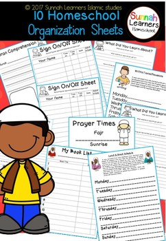 Islamic Home school Organization Sheets