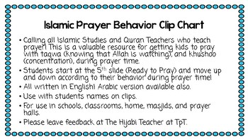 Islamic Prayer (Salah) Behavior Clip Chart English Version