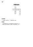 Islamic Studies Crossword Puzzle: Adhaan