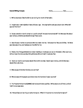 Islamic writing prompts for kids
