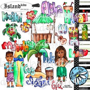 Island Kids - Aloha Hawaii - Color Clip Art Set