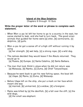 Island Of The Blue Dolphin Chapter Quizzes By Yukontete Tpt