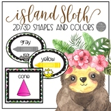 Island Sloth Color and Shape Posters and Clock Helpers
