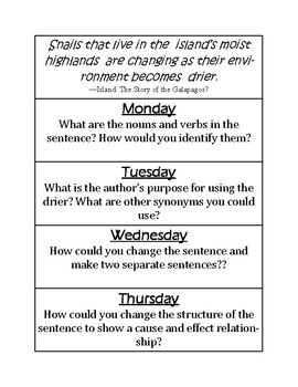 Island: The Story of the Galapagos Mentor Sentence and Vocabulary Activities