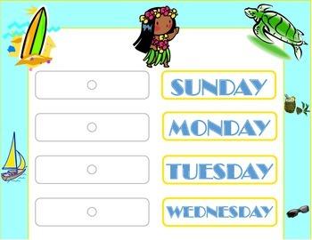 Island Weekday Chart! Island Bulletin Board! Tropical Island Theme!