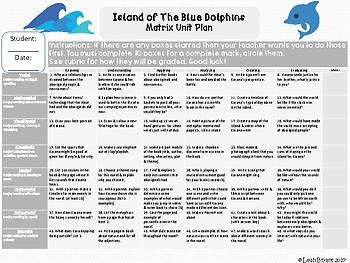 Island of The Blue Dolphins Matrix Unit Plan Novel Questions and Activities