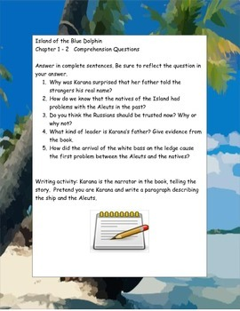 Island of the Blue Dolphin ELA Study Novel Guide Complete Printable