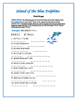 """Island of the Blue Dolphins: 10 Word Merges—One """"Word"""" Becomes Two!"""