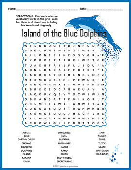 Island of the Blue Dolphins Activity - Word Search