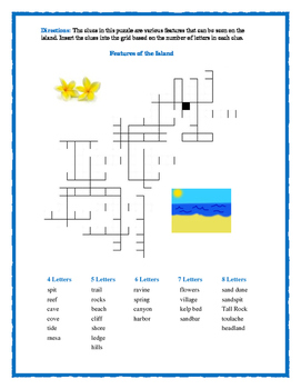 Island of the Blue Dolphins: 5 Fill In Word Puzzles—Trial and Error!